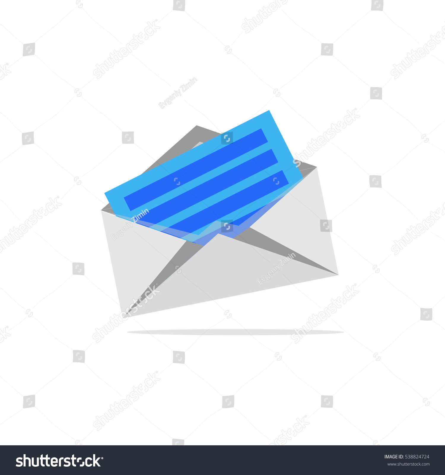 Icon Open Envelope Envelope Letter Shadow Stock Vector Royalty Free