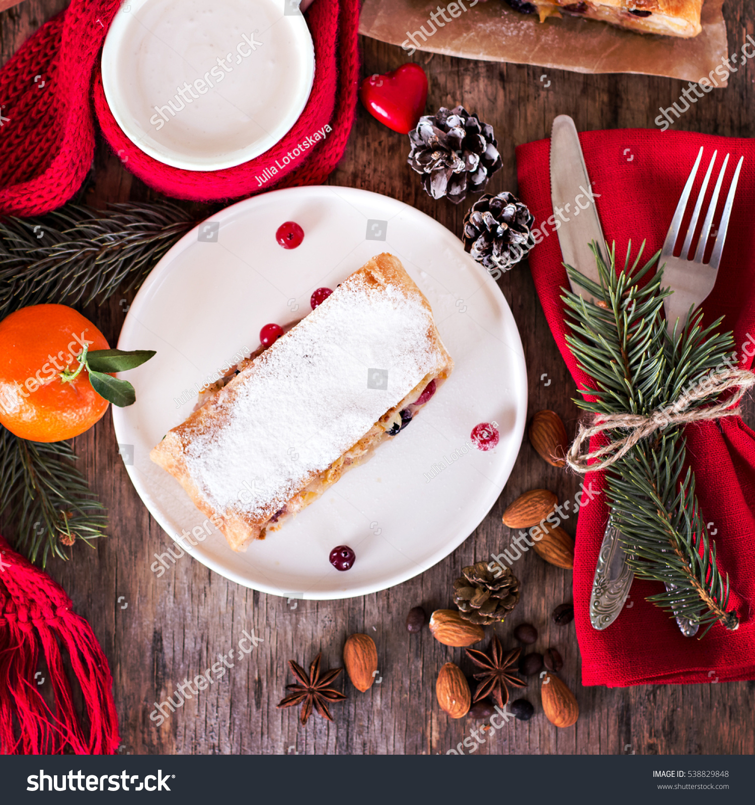 Strudel Winter Decor Christmas Homemade Pastry Stock Photo ...