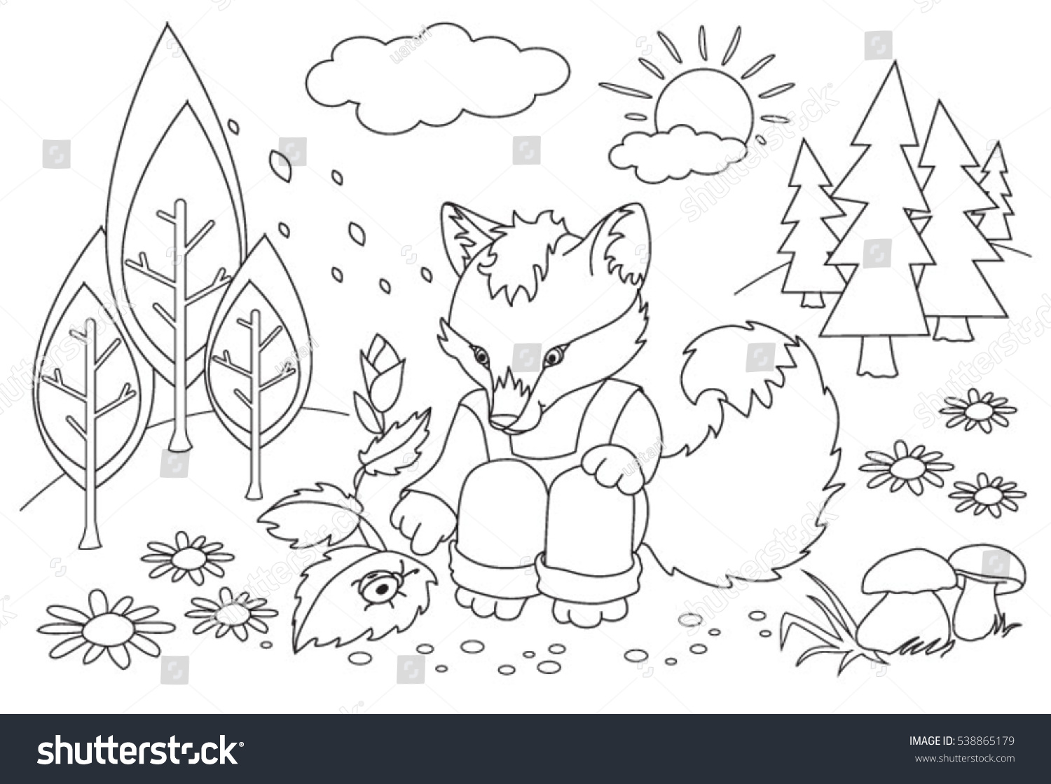 coloring book children fox forest stock vector 538865179