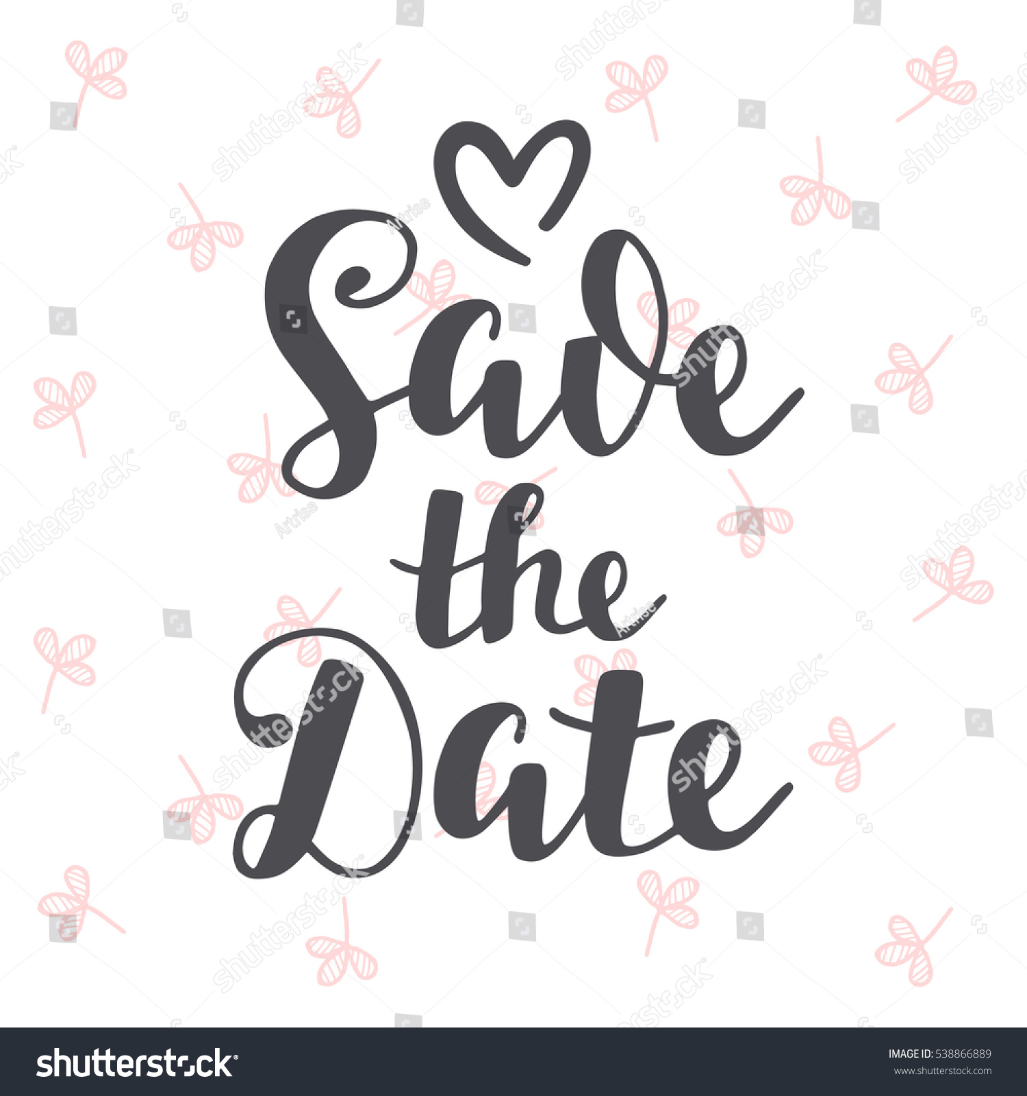 Save Date Vintage Hand Written Lettering Stock Vector Royalty Free
