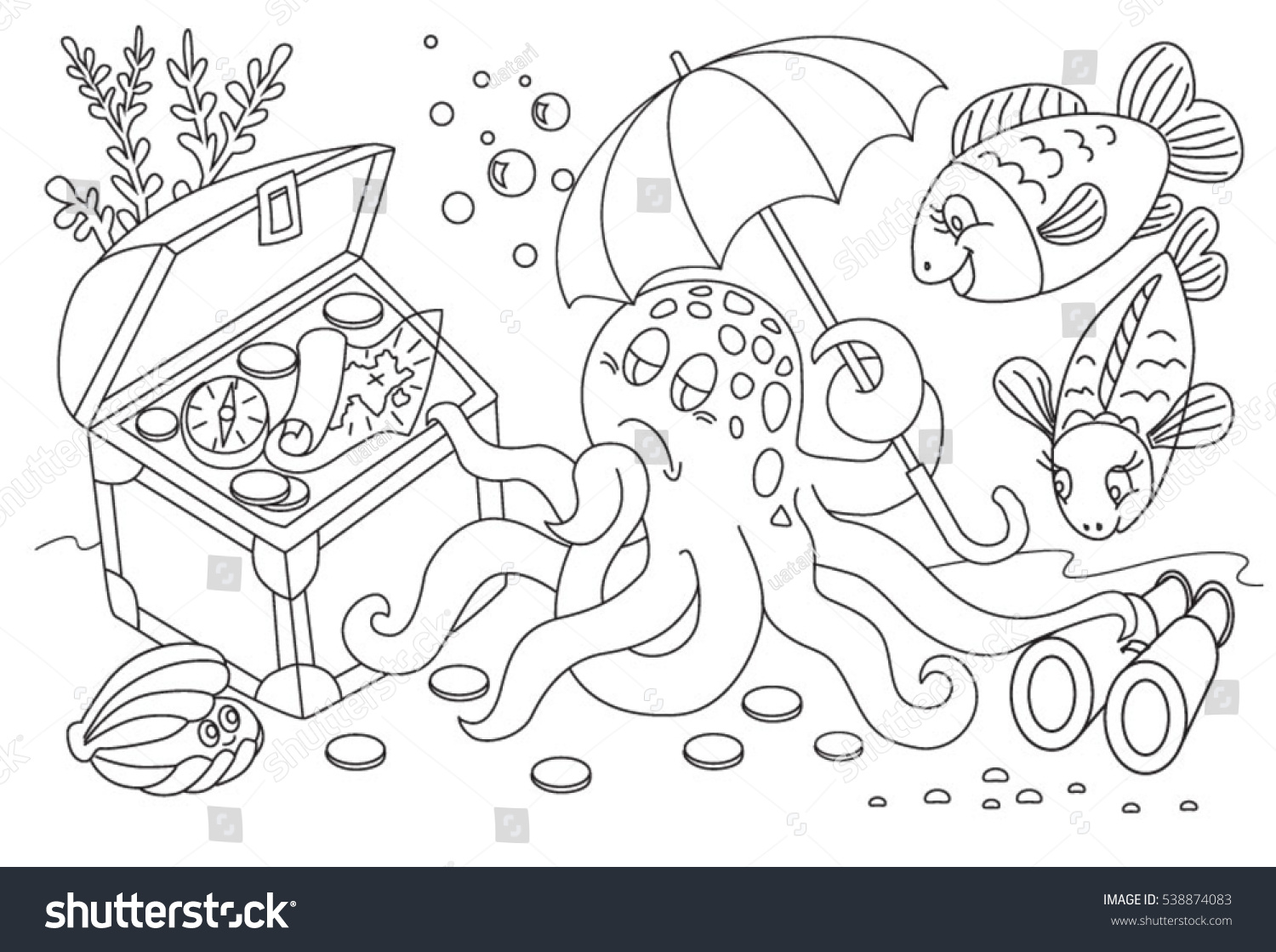 Book of life for coloring - Book Of Life Coloring Book Coloring Book Life In The Sea Octopus And Chest
