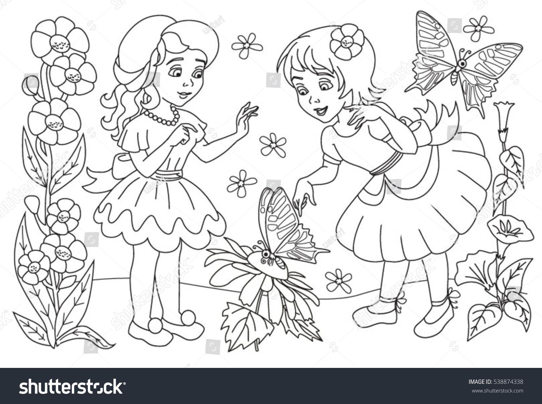 Coloring Book Little Girls Stock Vector 538874338 - Shutterstock