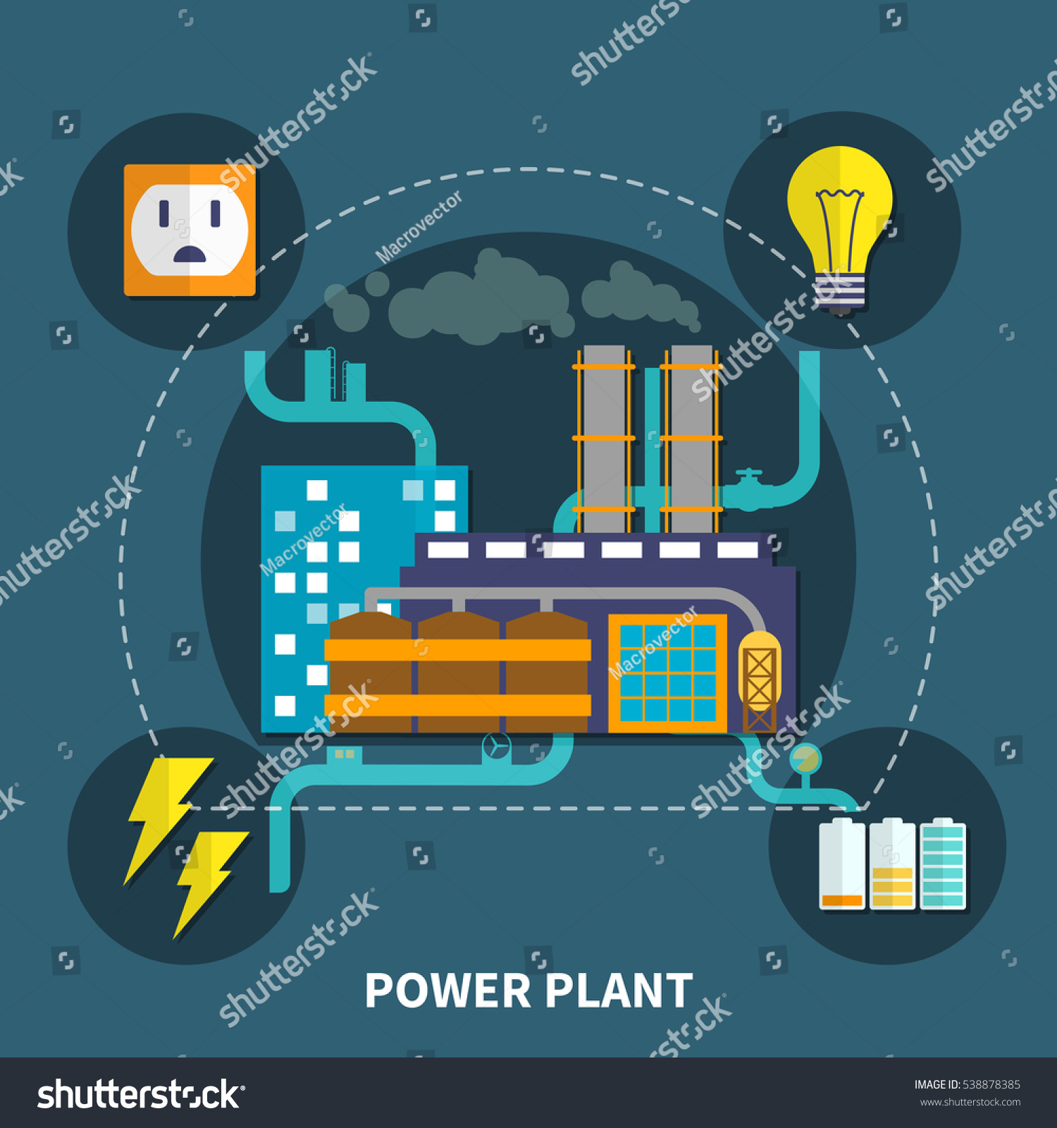 Power Plant Layout Bulb Other Abstract Stock Vector Royalty Free Diagram Pictures With And Illustration