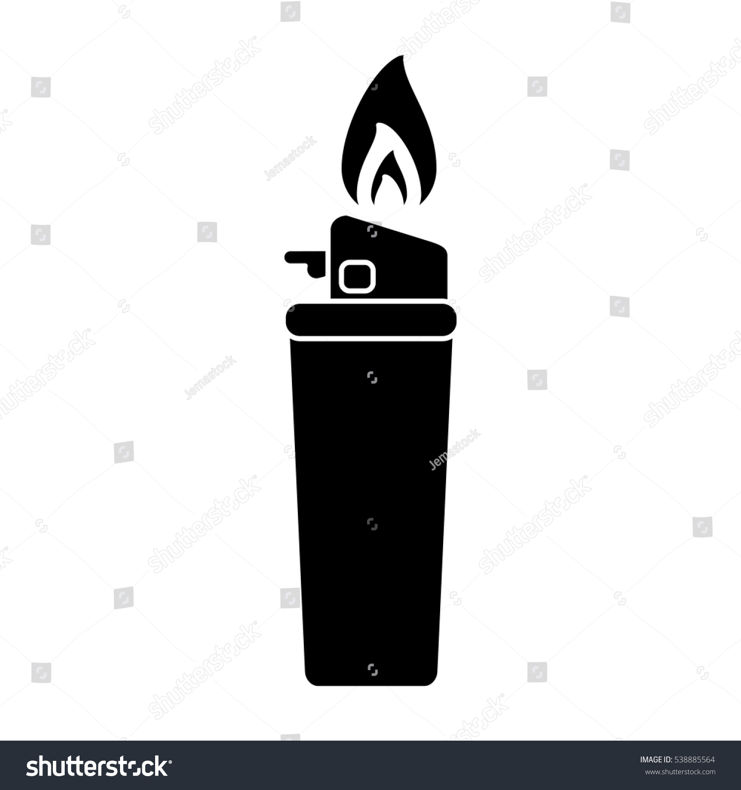 silhouette gas lighter flame icon stock vector 2018 538885564 rh shutterstock com