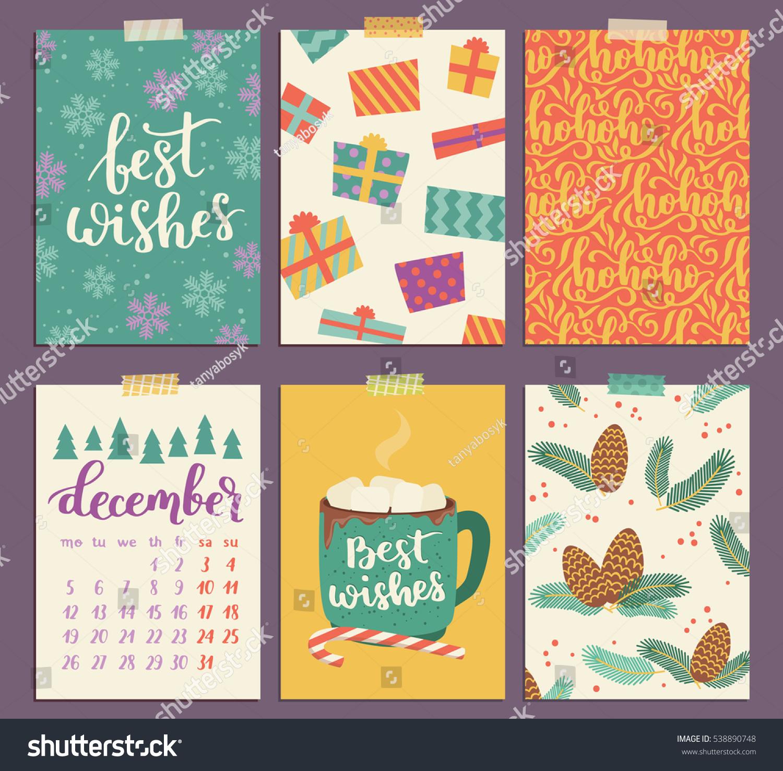 Collection Christmas Poster Templates Christmas Set Stock