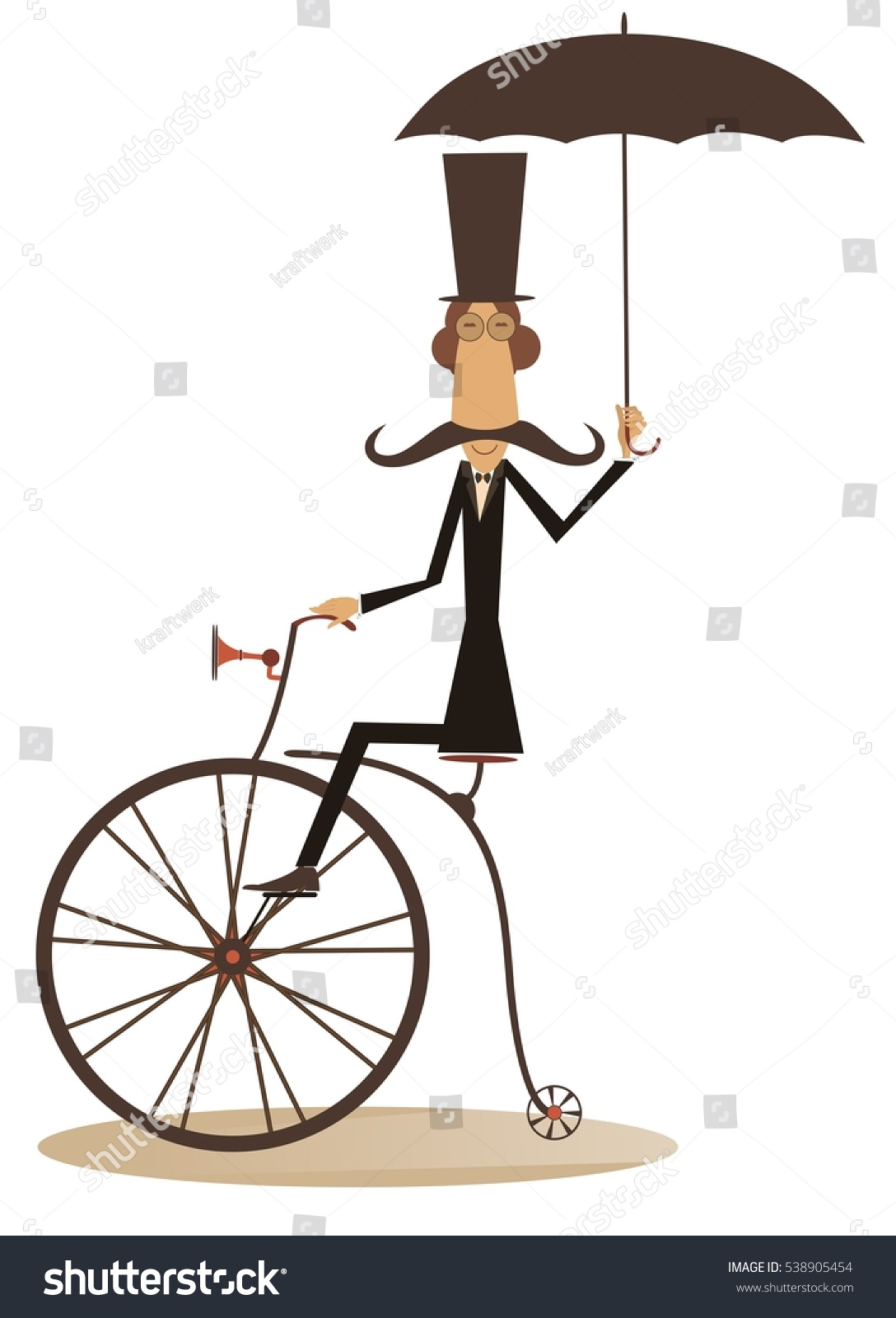 Cartoon Man Rides Bike Gentleman Mustache Stock Vector 538905454