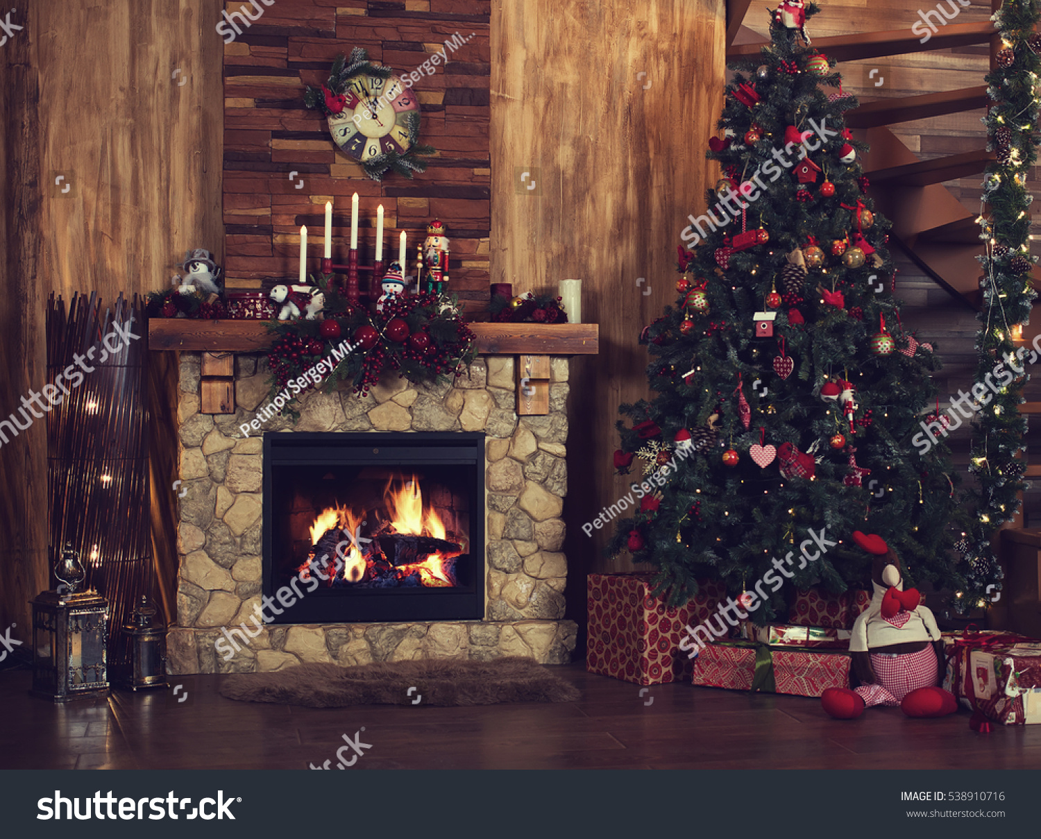 Beautiful Holiday Decorated Room Christmas Tree Stock