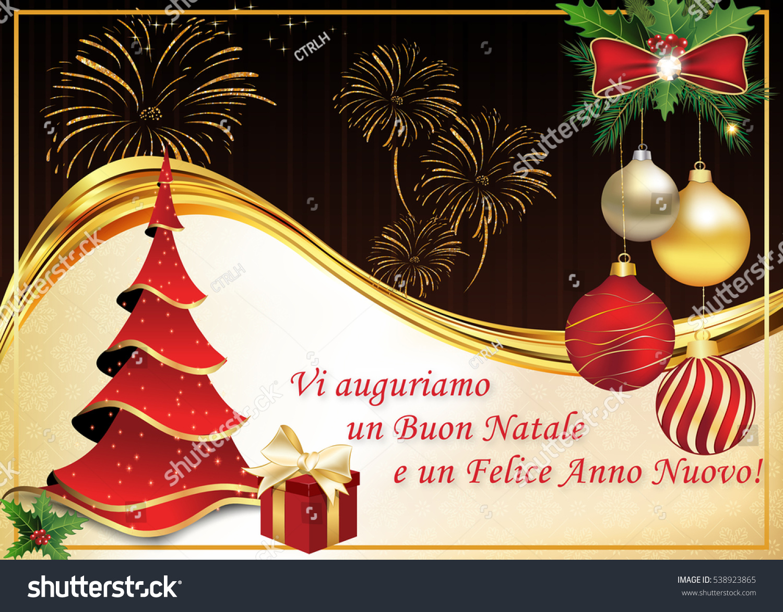Italian Winter Holiday Greeting Card Merry Stock Illustration ...