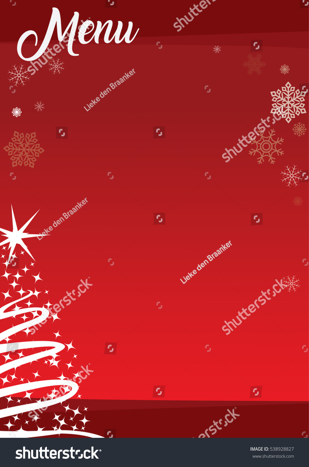 Christmas Menu Template Red Background Decorations Stock Vector