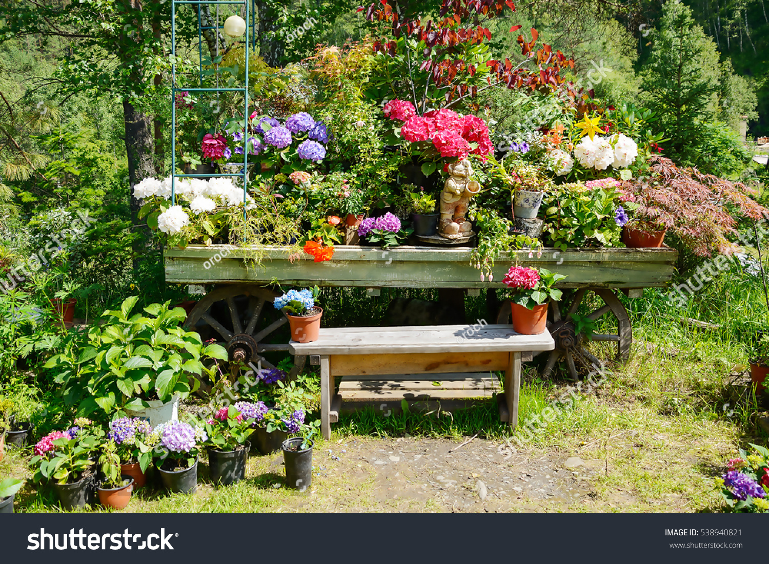 Decorative Garden Bench Decorated Flowers Pots Stock Photo 538940821 ...