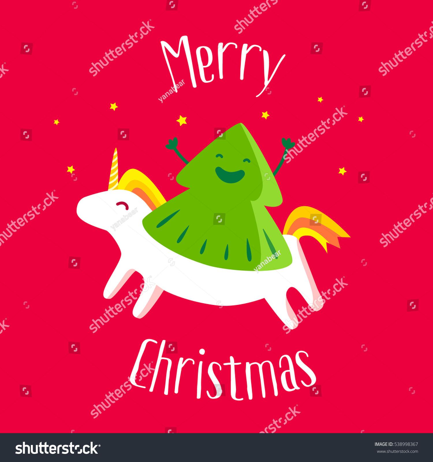 Merry Christmas Card Fun Christmas Tree Stock Vector 538998367