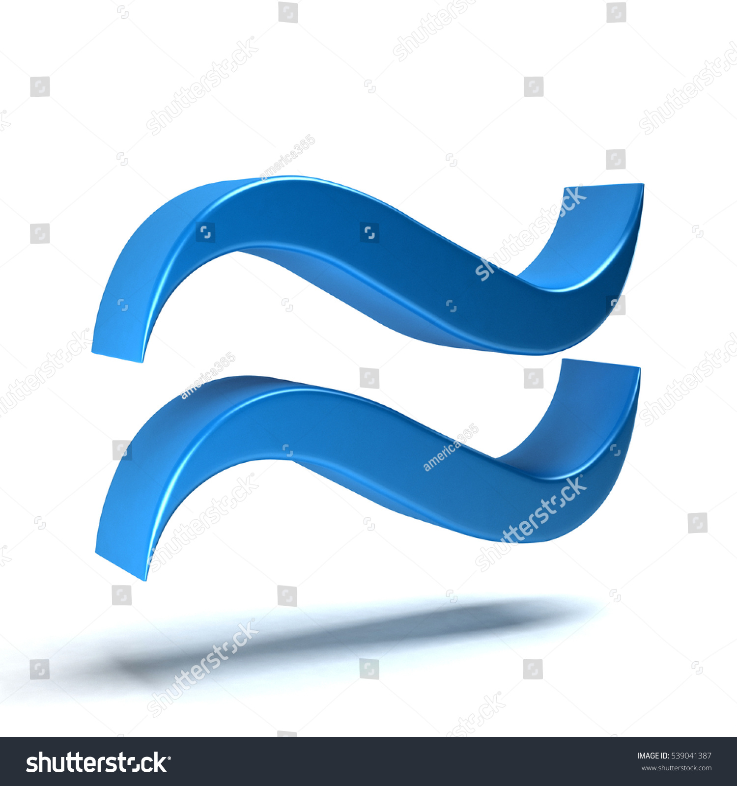 Approximately Equal Math Symbol 3 D Rendering Stock Illustration