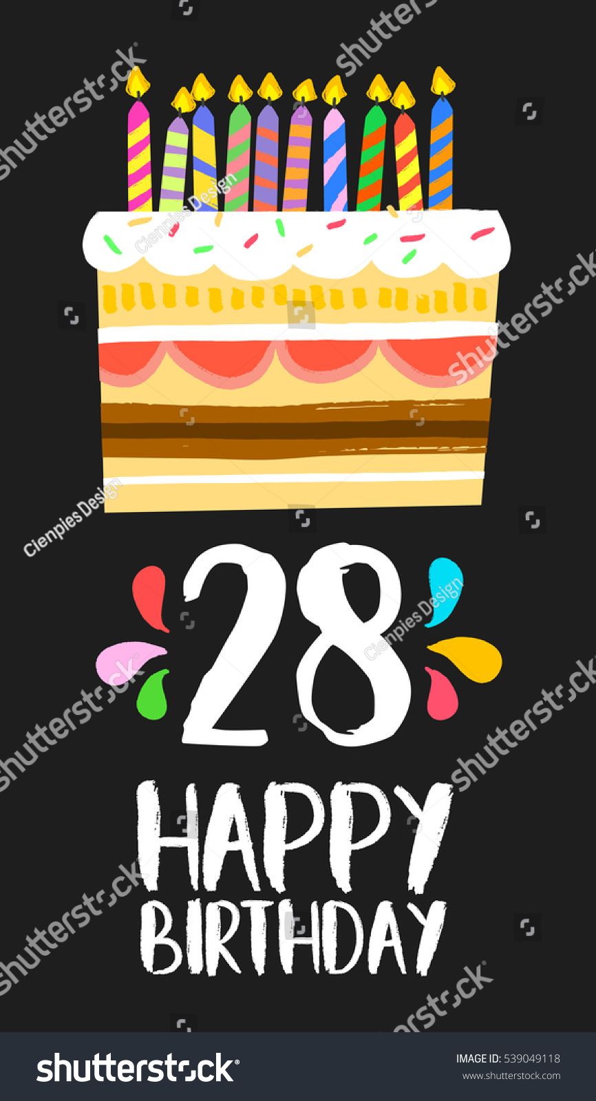 Happy Birthday Number 28 Greeting Card For Twenty Eight Years In Fun Art Style With
