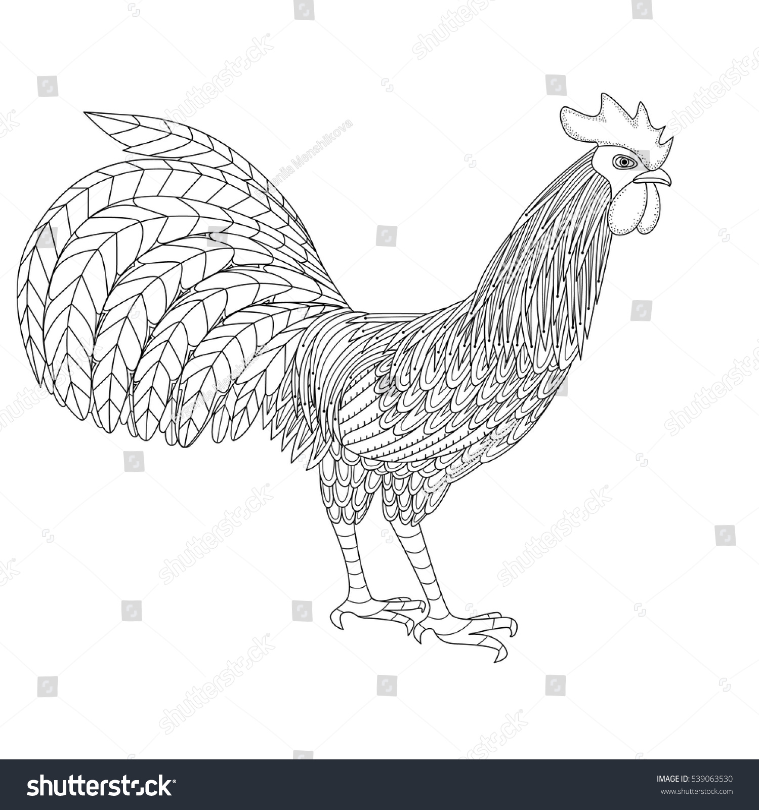 Colouring sheets chinese new year 2017 - Vector Illustration Of Rooster Symbol Of Chinese New Year 2017 Zentangle Stylization Background Coloring Page Print Tattoo Design Stock Vector