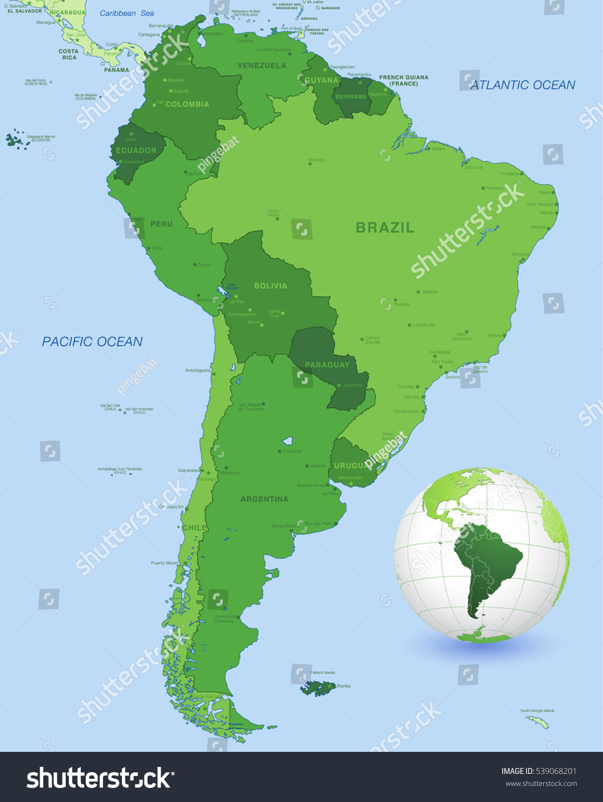 High Detail Vector Map South America Stock Vector - Argentina globe map