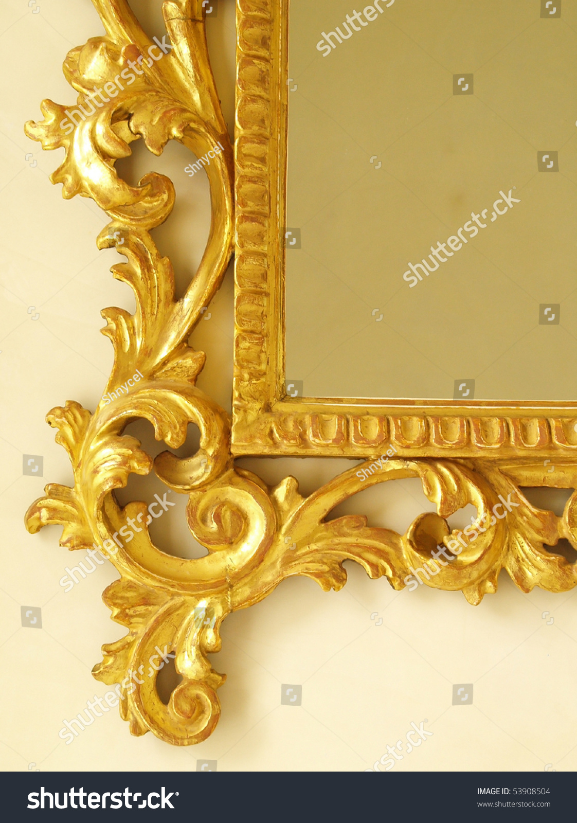 Golden Antique Mirror Frame Molding Stock Photo 53908504
