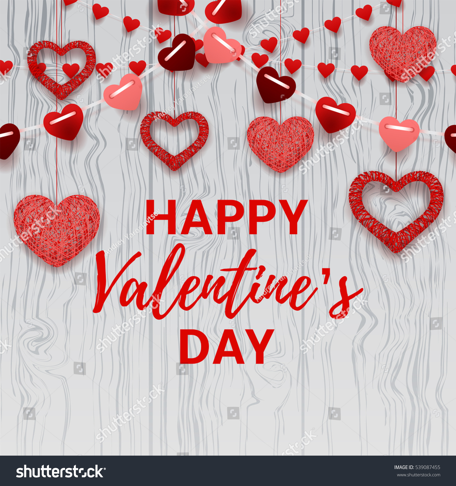 Happy Valentines Day Card Romantic Composition Stock Vector Royalty Free 539087455