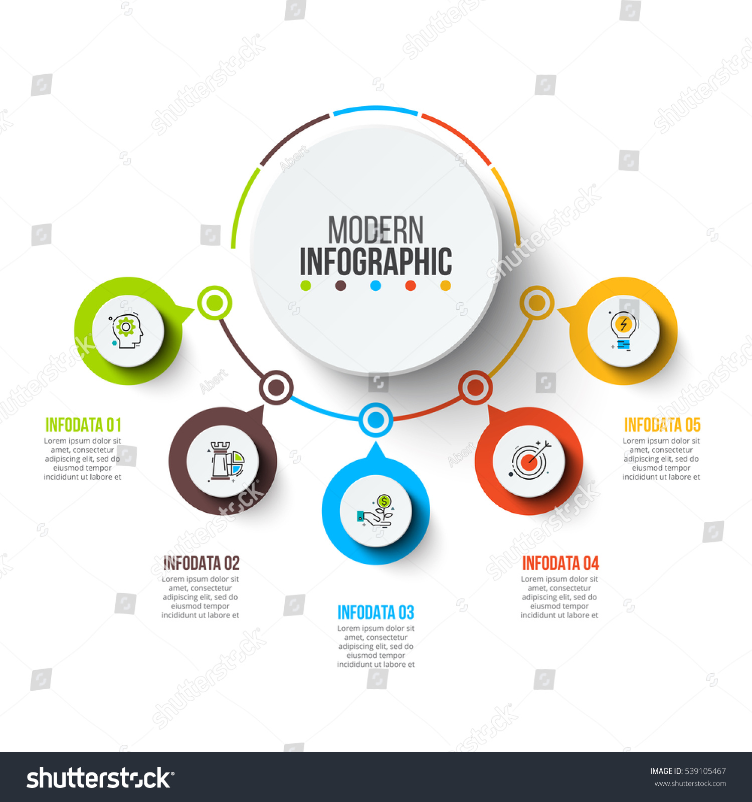 Abstract infographics number options template. Vector illustration. Can be used for workflow layout, diagram, business step options, banner, web design. #539105467
