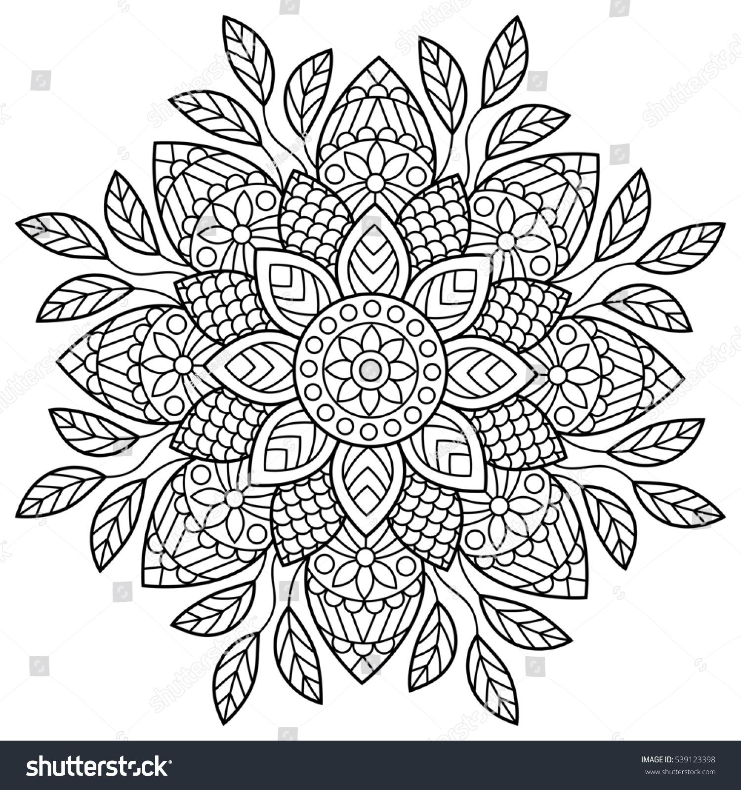 Coloring book pages mandala - Mandala Coloring Book Pages Indian Antistress Medallion Abstract Islamic Flower Arabic Henna