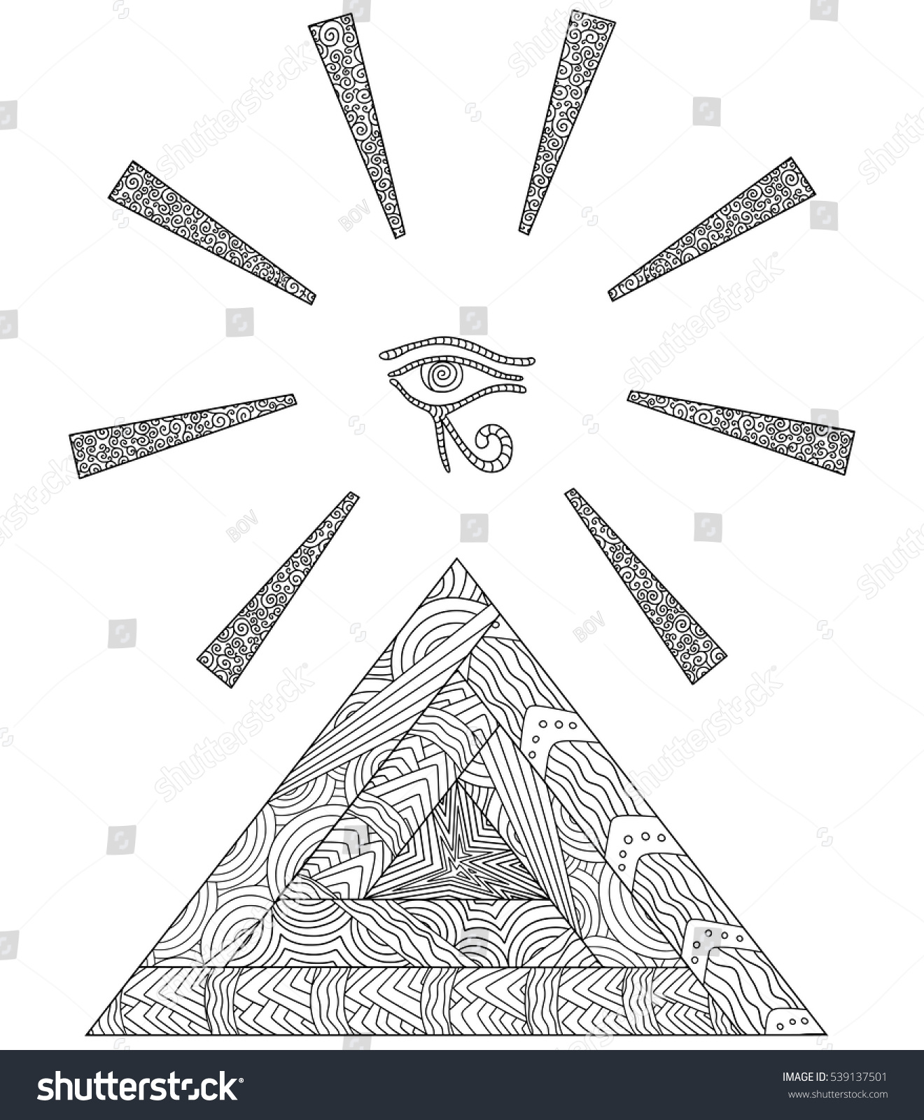 Doodle coloring book symbol egyptian pyramids stock vector doodle coloring book with the symbol of the egyptian pyramids and the eye of horus biocorpaavc Gallery