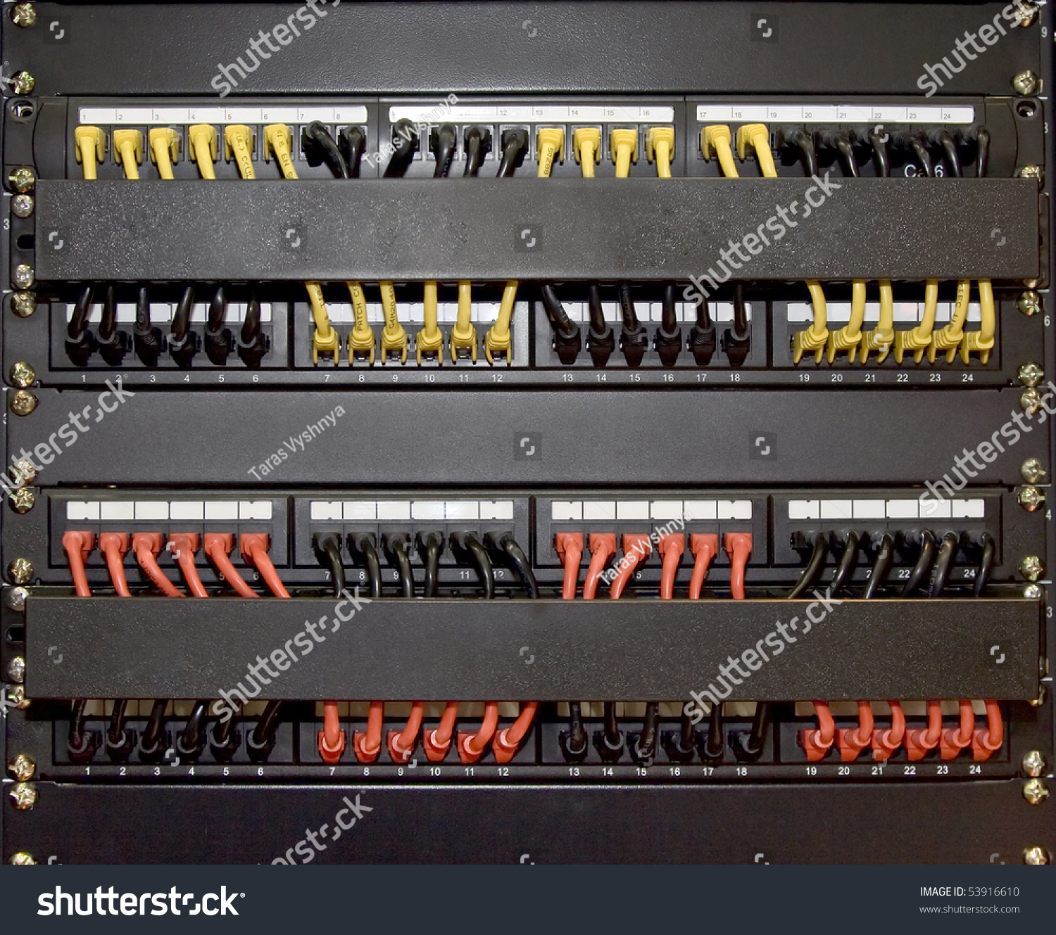 Computer Patch Cords Panel Cabling Rack Stock Photo