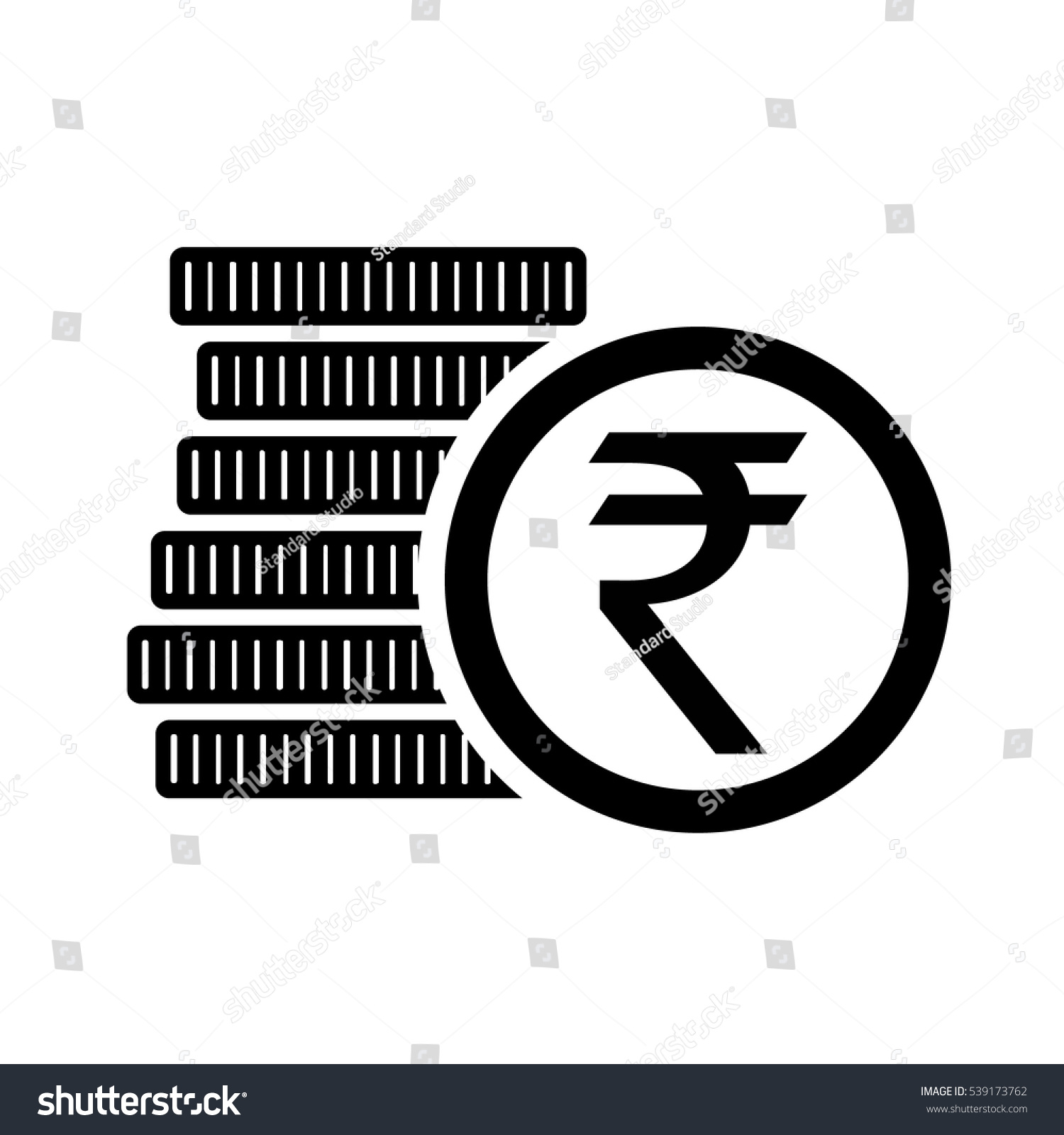 Money Six Coins Indian Rupee Icon Stock Vector Royalty Free
