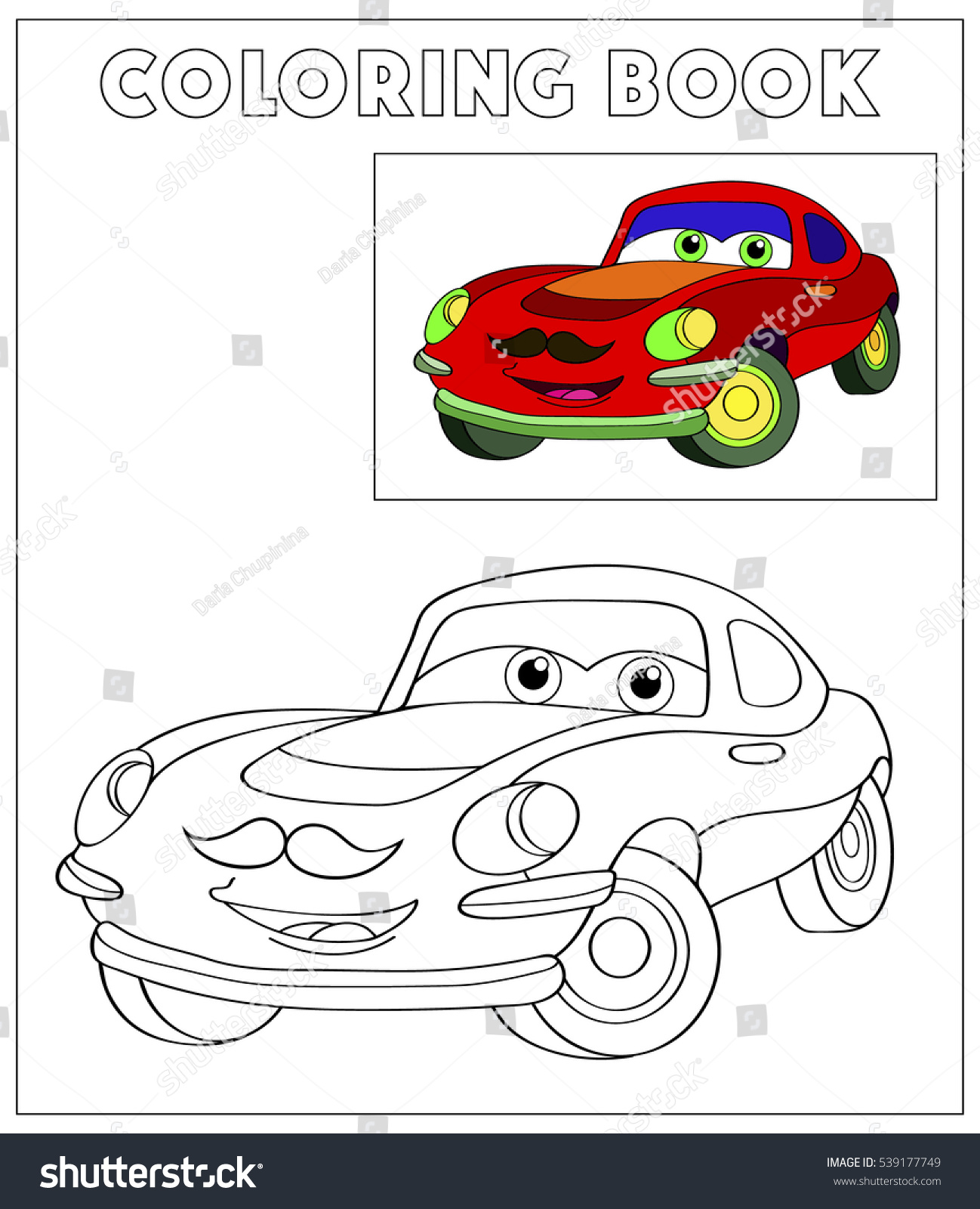Cute Hipster Vintage Car With Mustache Coloring Book Outdoor Sport Theme Funny Race Machine