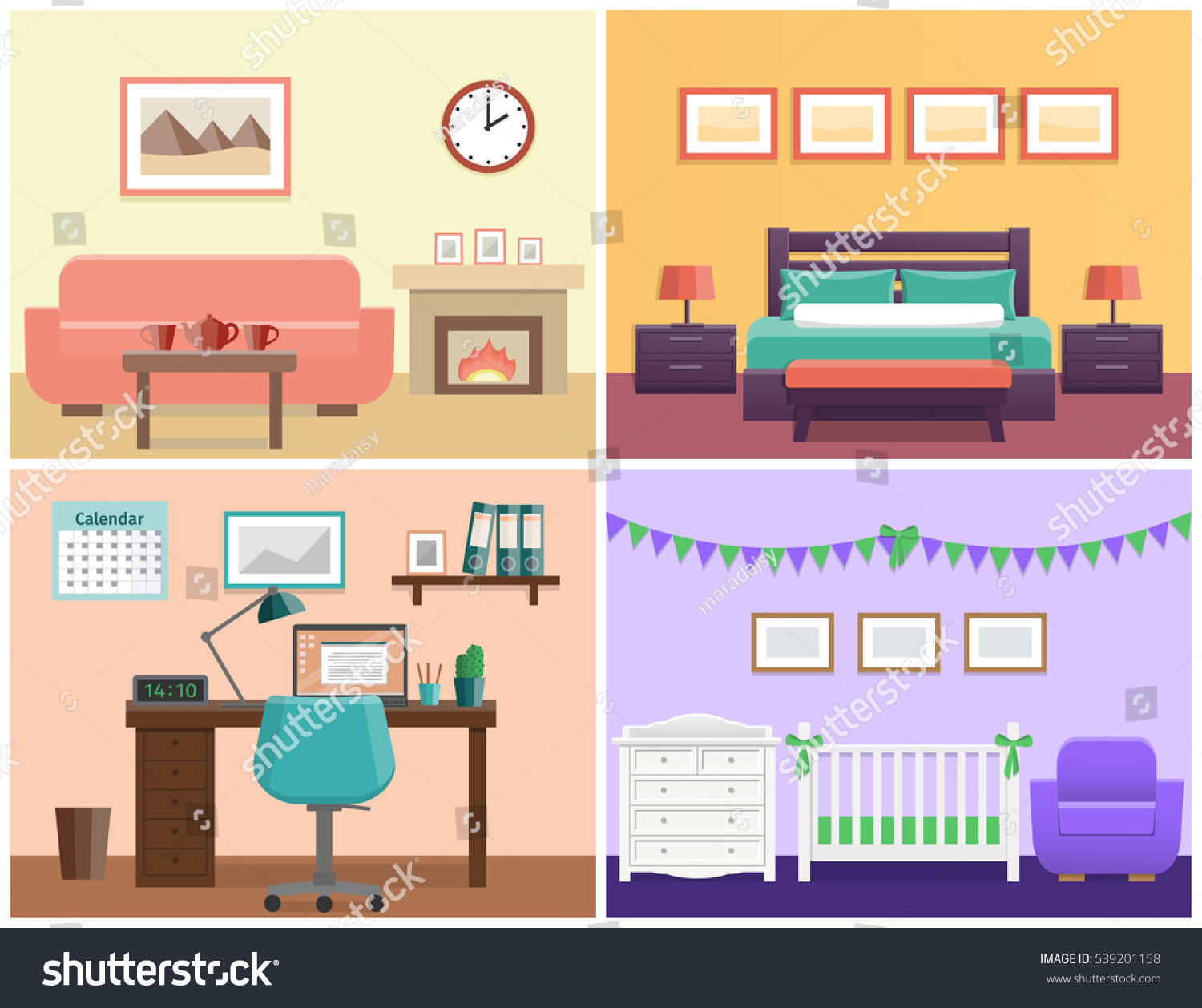 Interior Of Modern Living Room In Flat Design Stock Vector: House Interior Living Room Bedroom Office Stock Vector