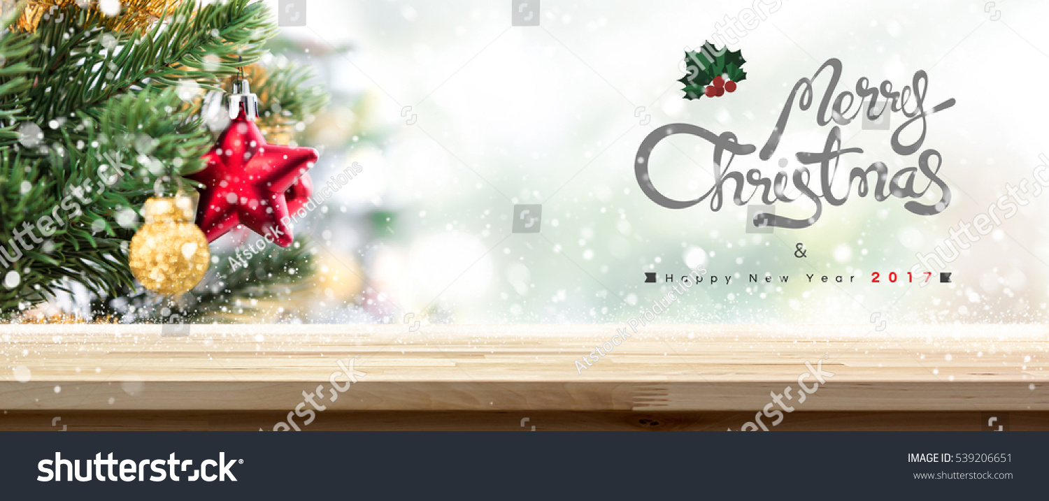 Merry Christmas and Happy New Year 2017 wood table top banner background