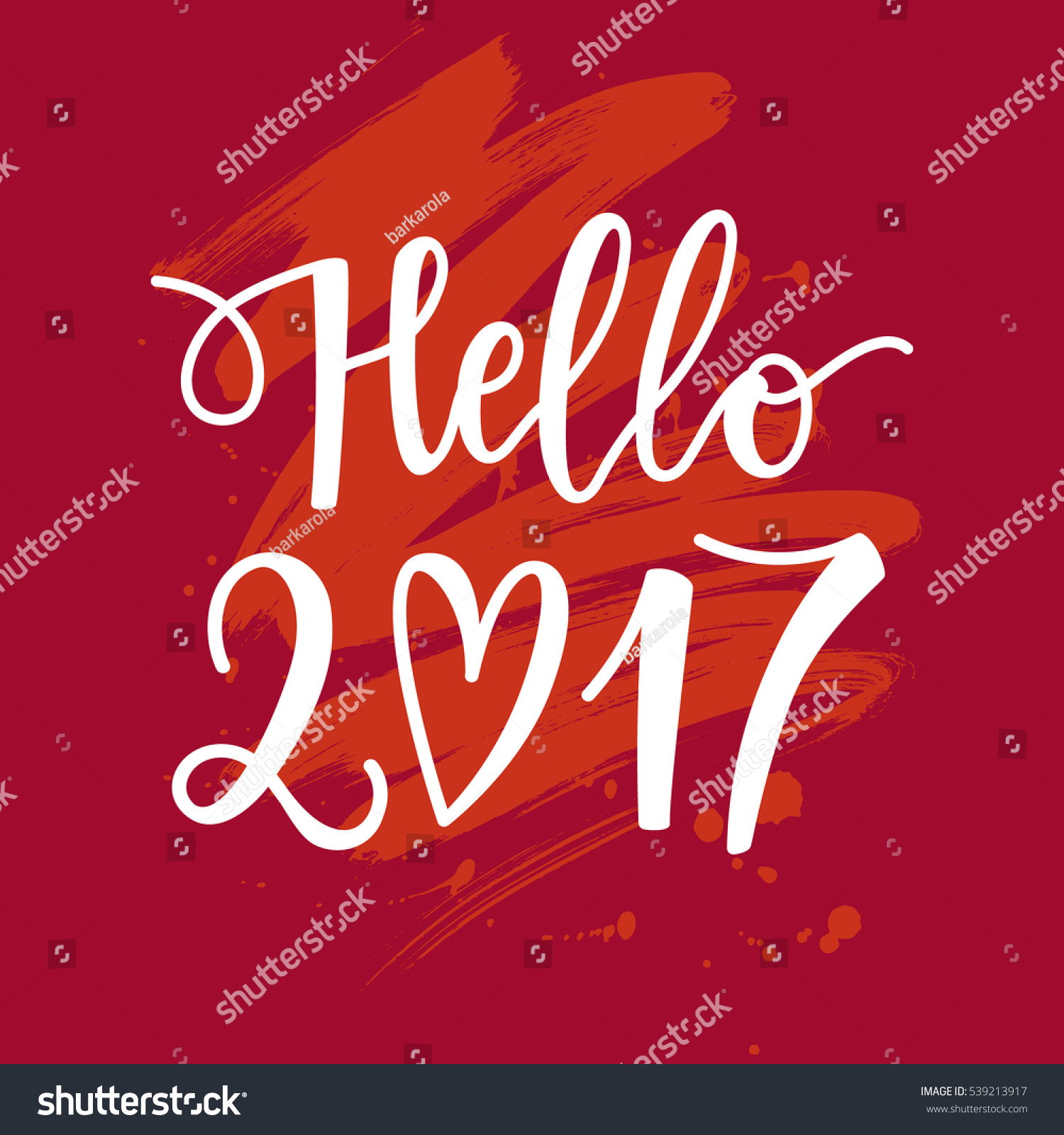 vector hand drawn hello phrase stock vector  vector hand drawn hello 2017 phrase on a paint background new year card holiday