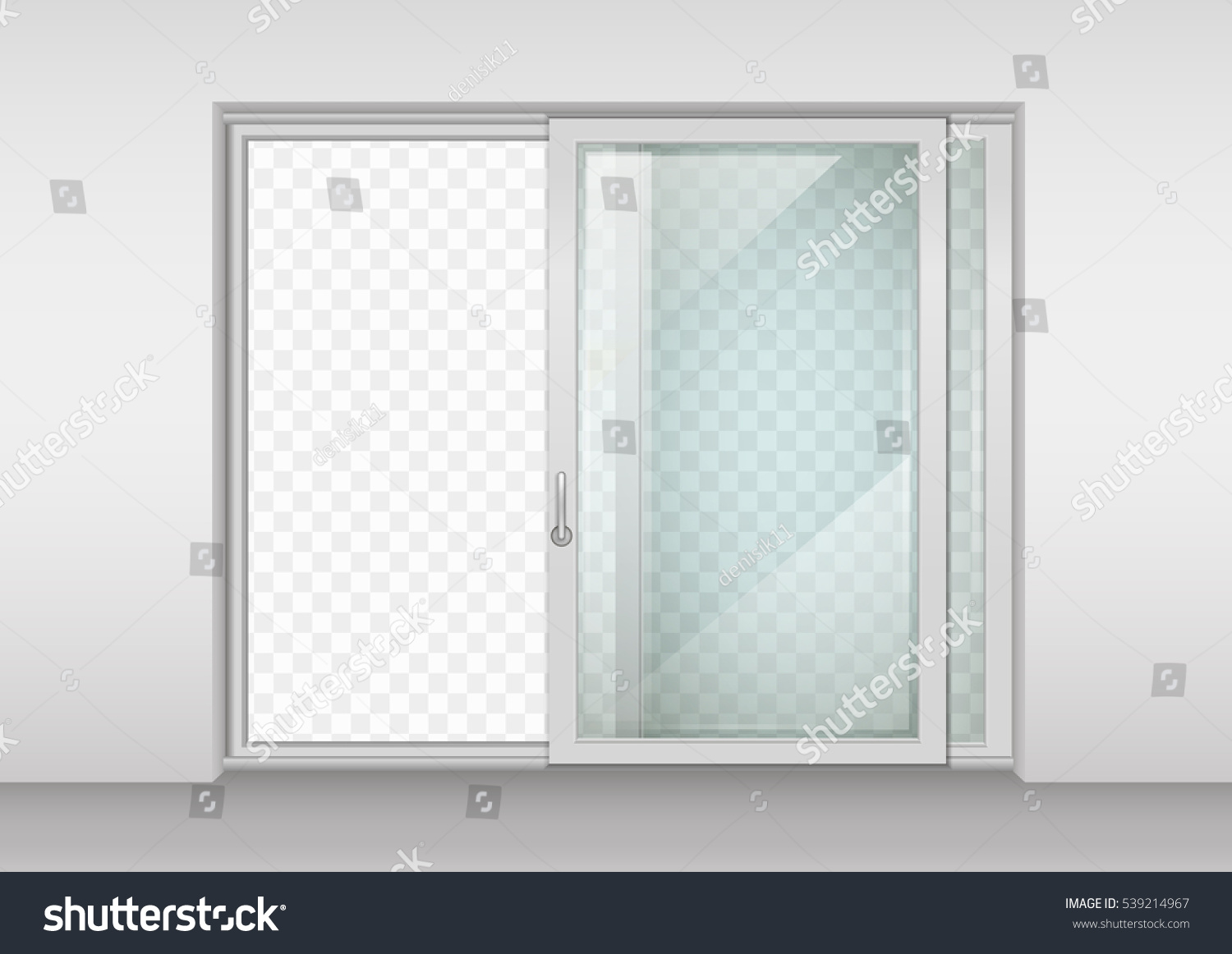 Modern Wide Sliding Door With Transparent Glass Vector Graphics The