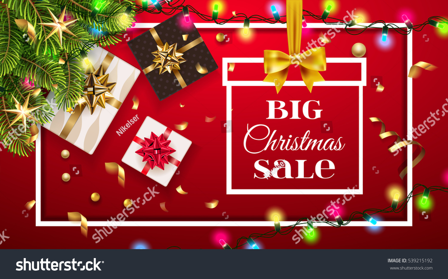 Big Christmas Sale Background Golden Gifts Stock Vector (Royalty ...