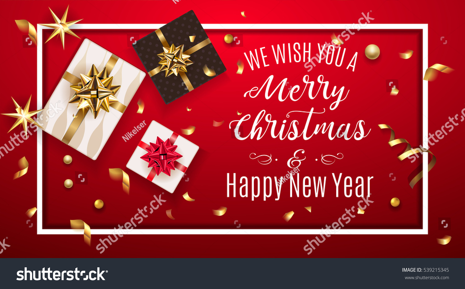 Vintage christmas greeting card gifts boxes stock vector 539215345 vintage christmas greeting card with gifts boxes set with bow happy new year decoration with kristyandbryce Choice Image
