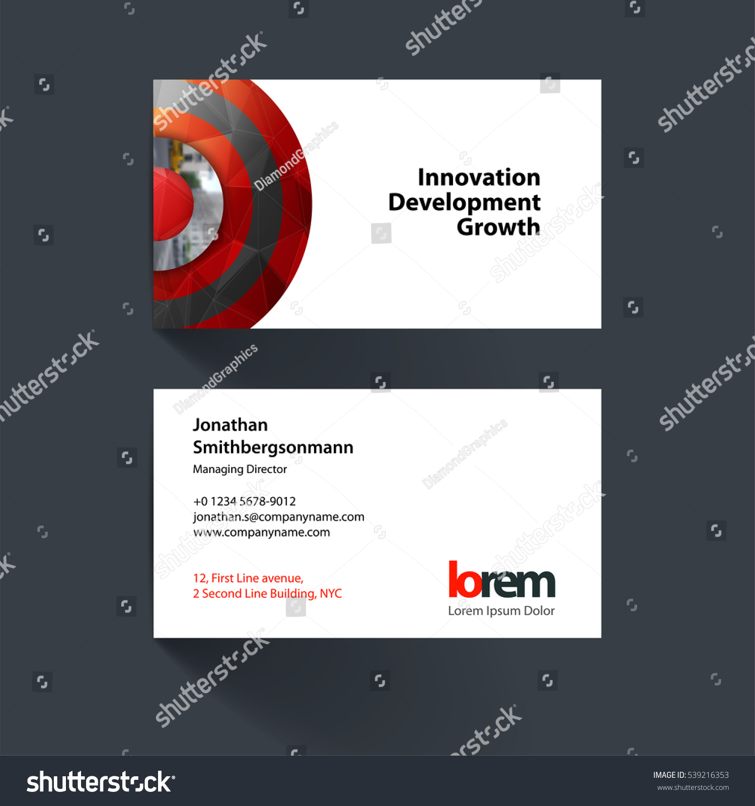 vector business card template red half stock vector