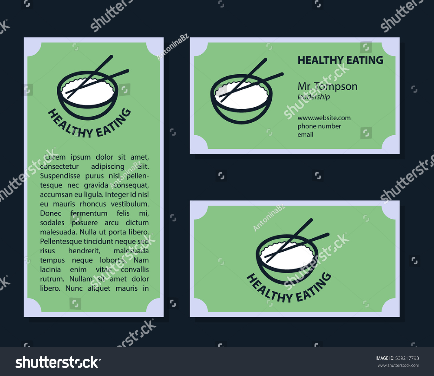Set Healthy Food Business Cards Stock Vector 539217793 - Shutterstock