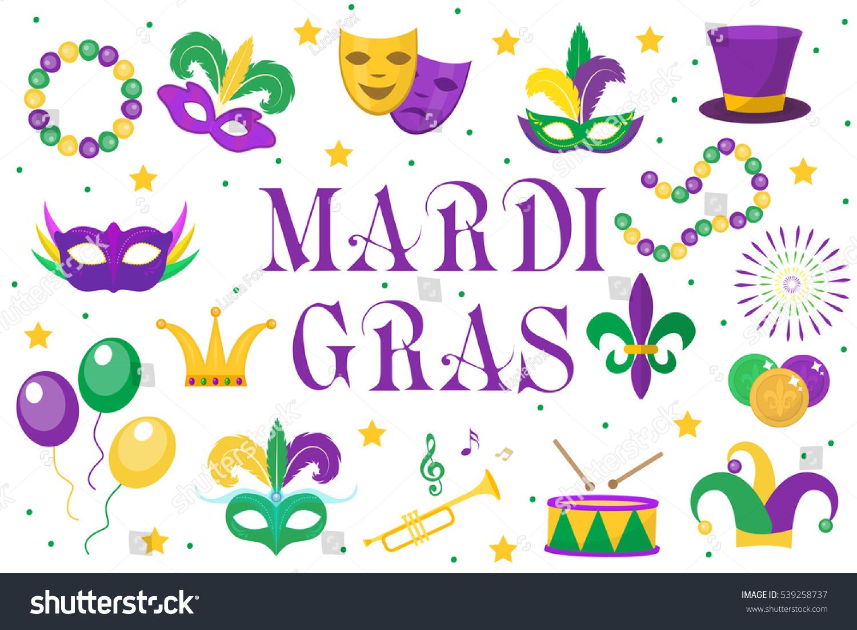 Mardi Gras Carnival Set Icons Design Stock Vector ...