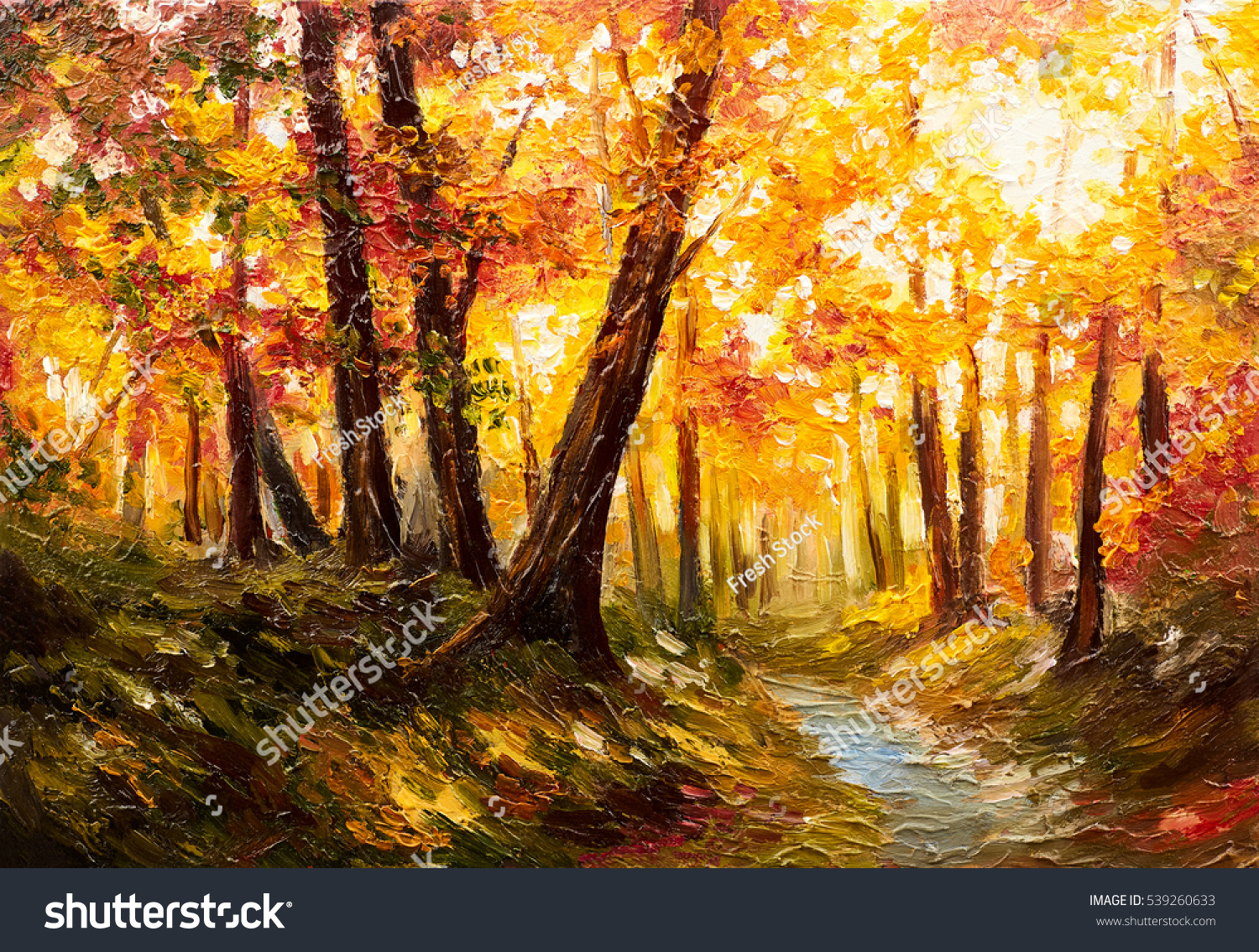 Oil painting landscape autumn forest near stock for Oil painting scenery