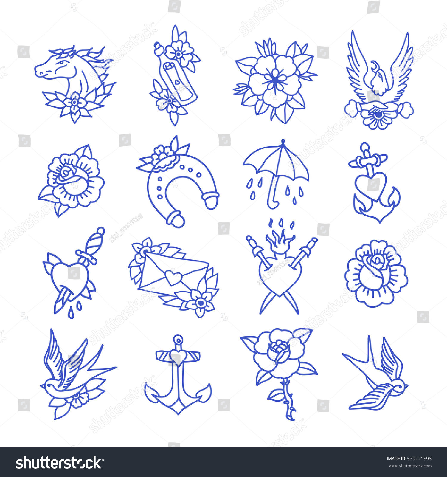 Doodle Icon Traditional Tattoo Flash Set Stock Vector Royalty Free