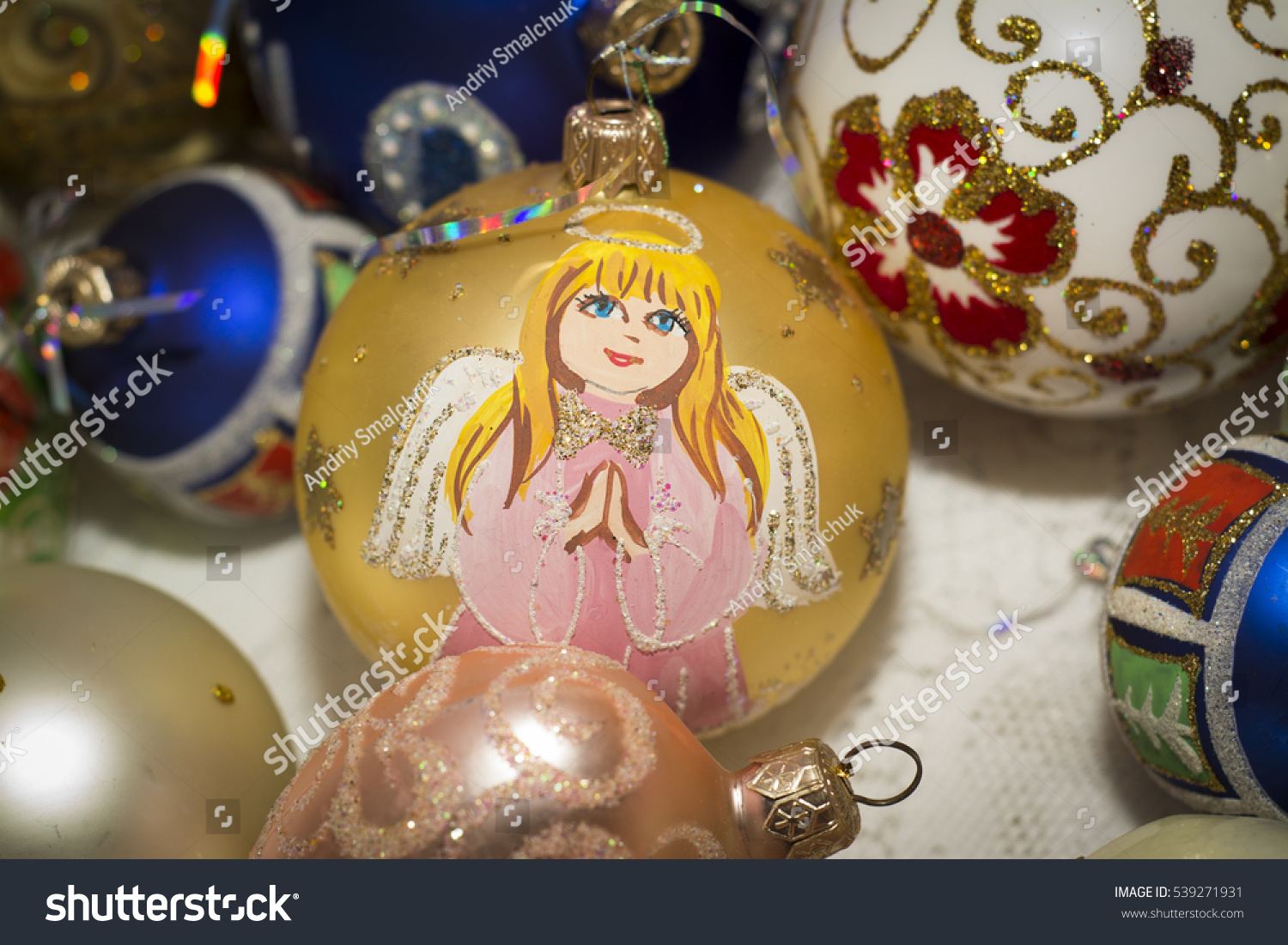 Beautiful glass ornaments - Beautiful Glass Ornaments For The Christmas Tree Painted Handmade Marry Christmas And Happy