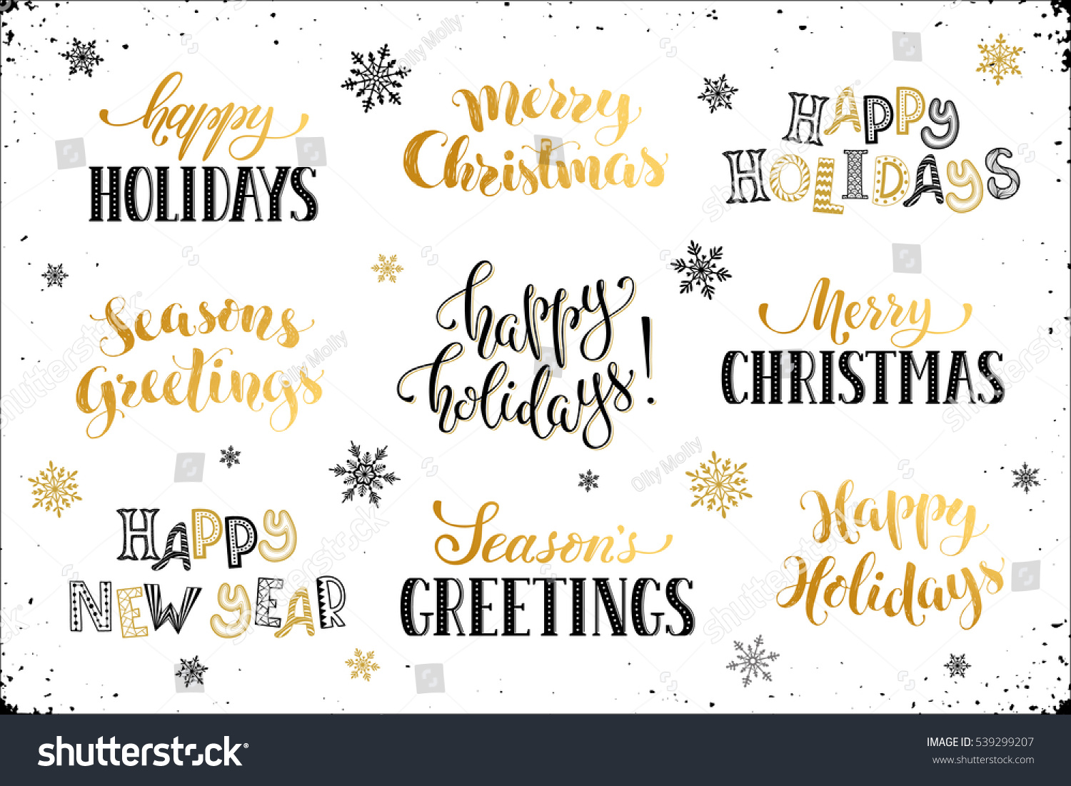 hand written new year phrases greeting card text with snowflakes isolated on white background