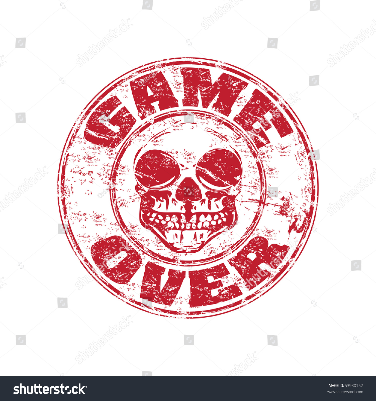 Red grunge rubber stamp skull text stock vector 53930152 red grunge rubber stamp with skull and the text game over written inside the stamp buycottarizona Images