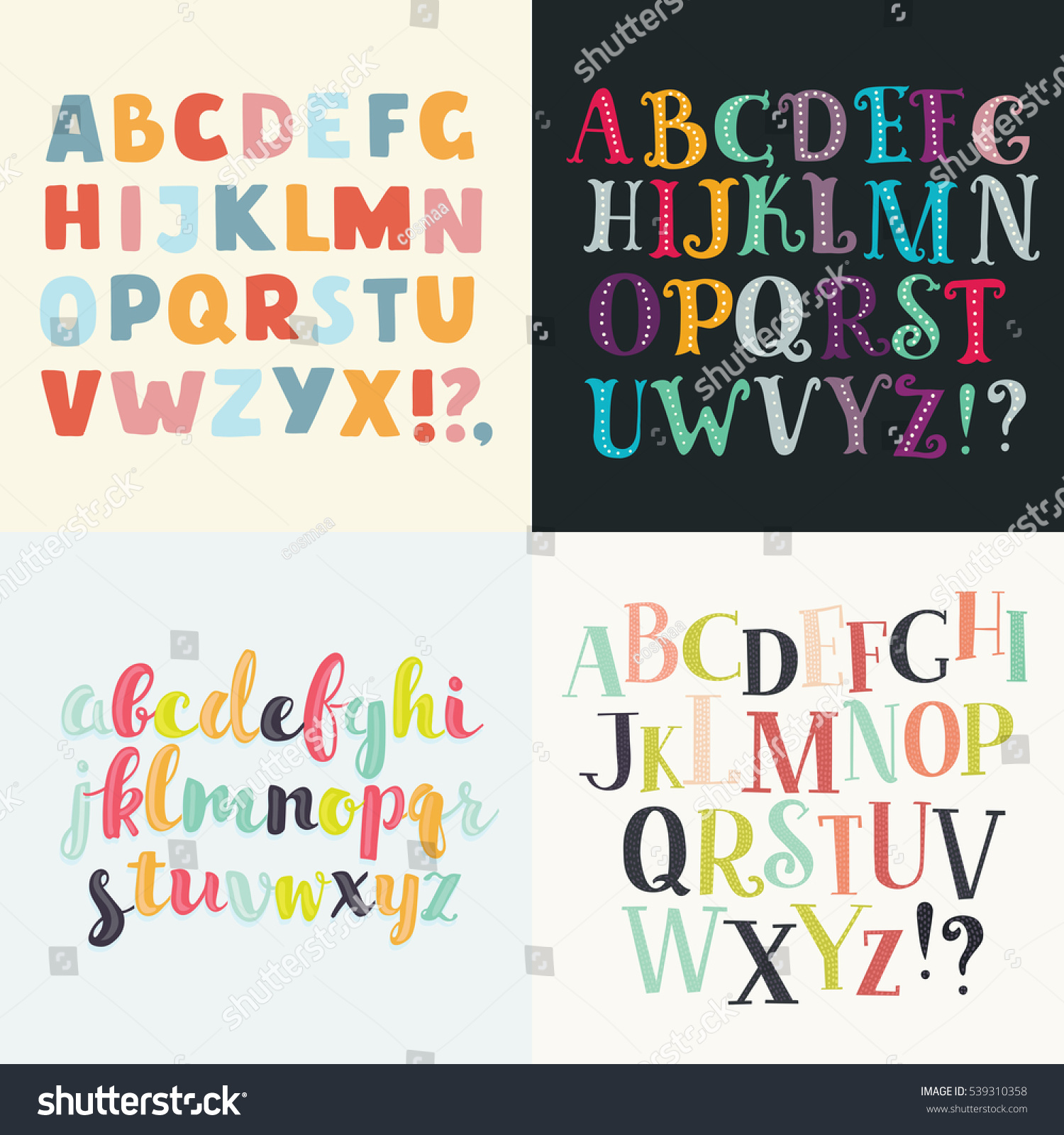 vector set four difference english alphabets stock vector