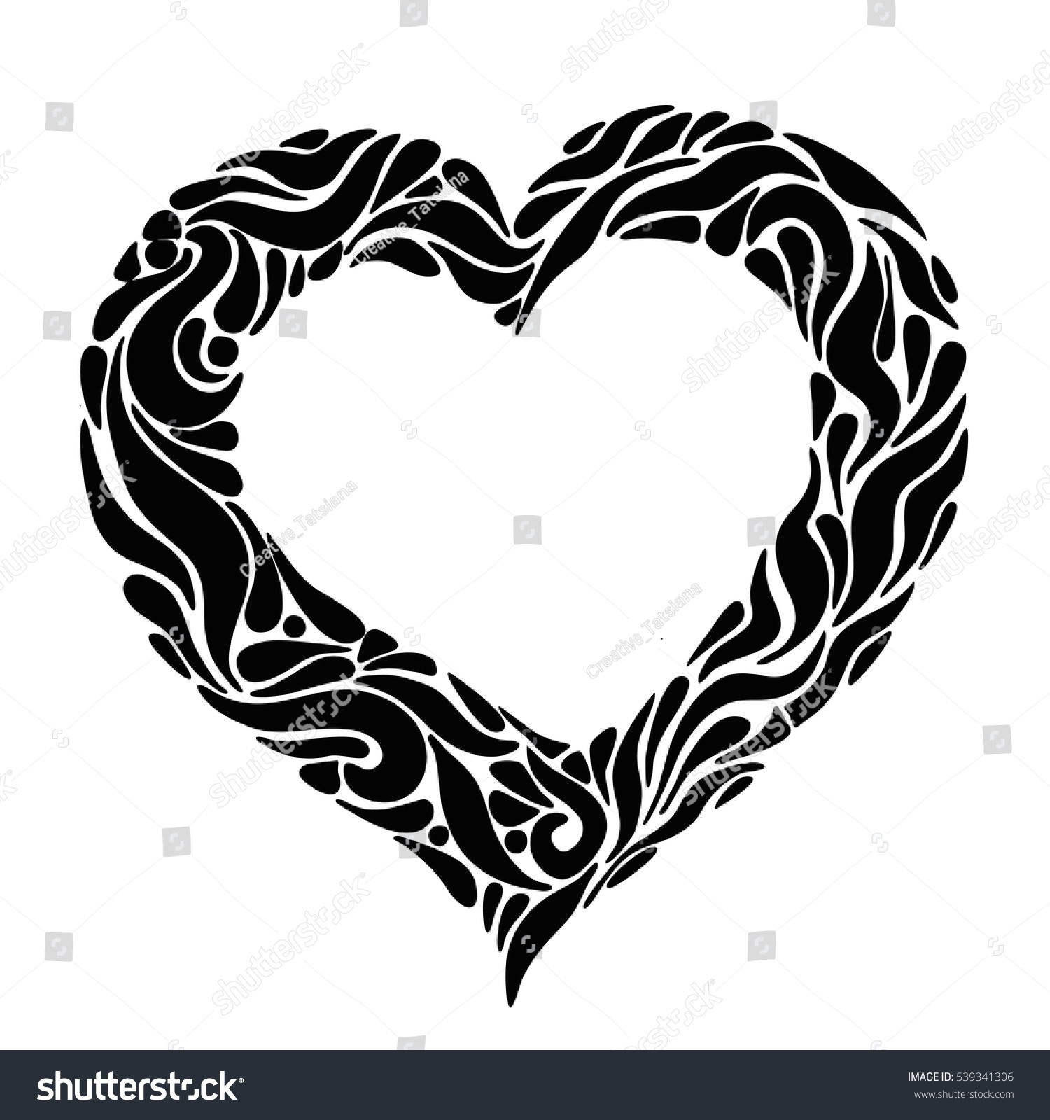 Elegant Ornate Black Heart Symbol Love Stock Illustration Royalty