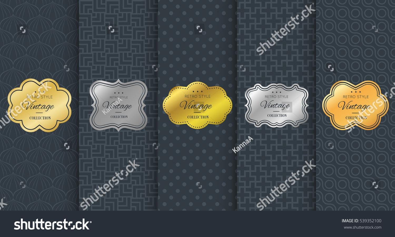 d6304f5be737 Golden vintage frame on black pattern background. Vector illustration for  retro design. Gold abstract