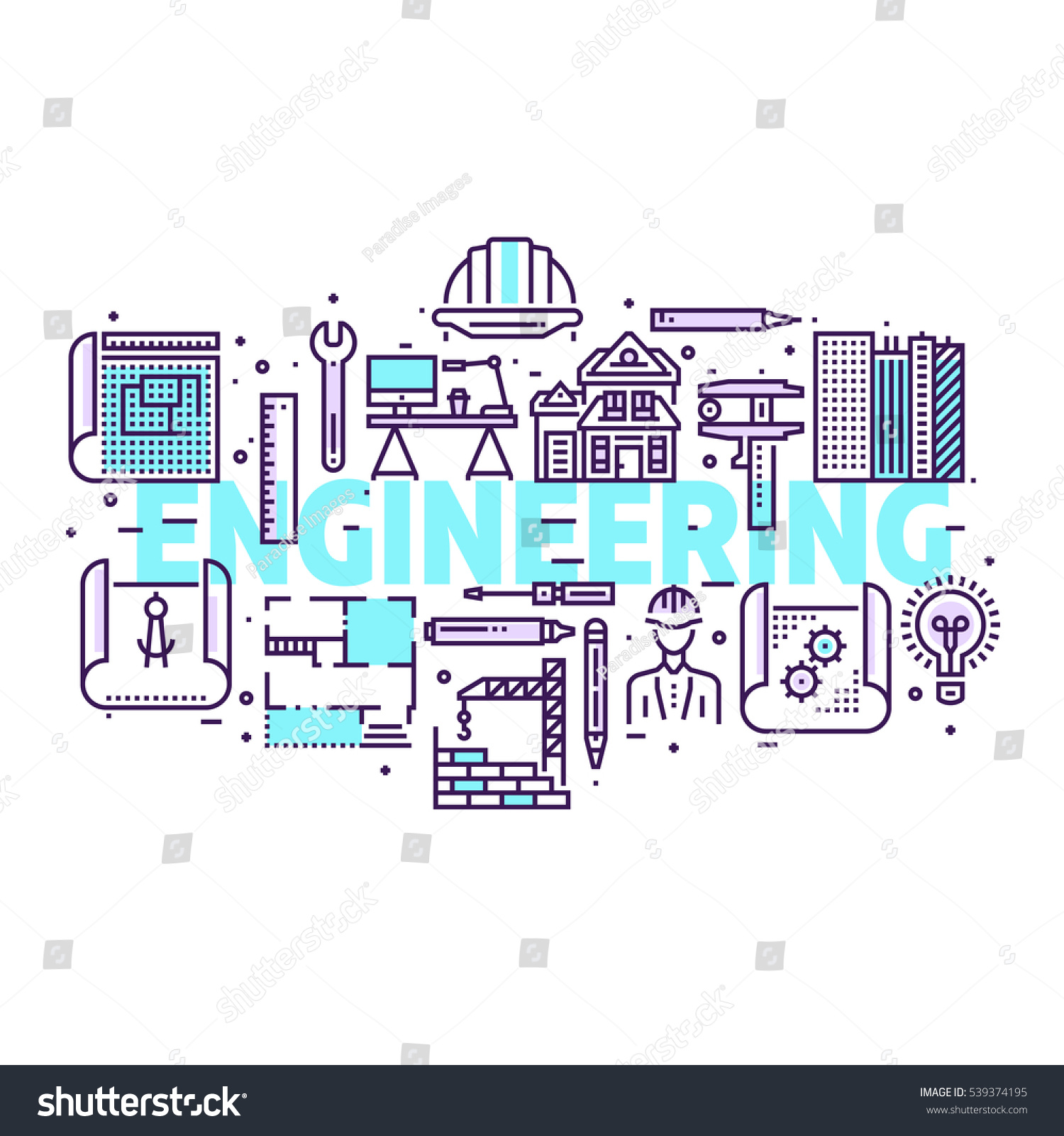 Blueprint engineer line icons design concept vectores en stock blueprint and engineer line icons design concept for poster header web line malvernweather Images