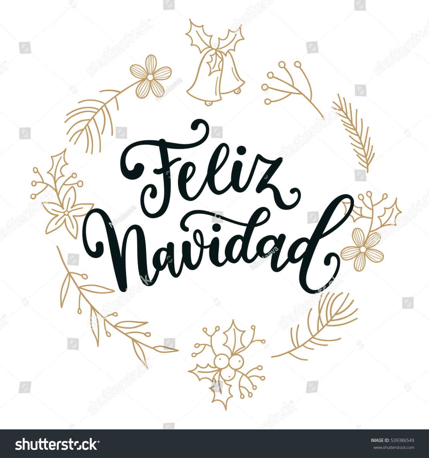 Merry En: Feliz Navidad Holidays Greeting Card Spanish Vectores En