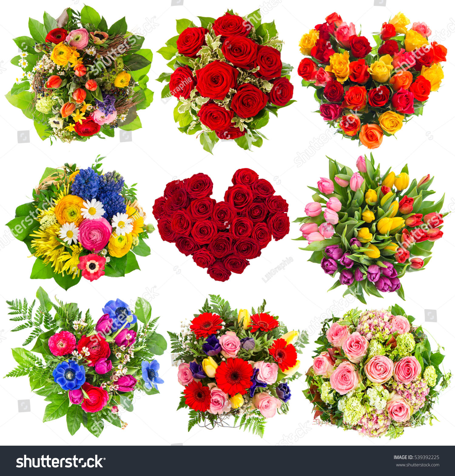 Bouquets Colorful Flowers Birthday Wedding Mothers Stock Photo Edit