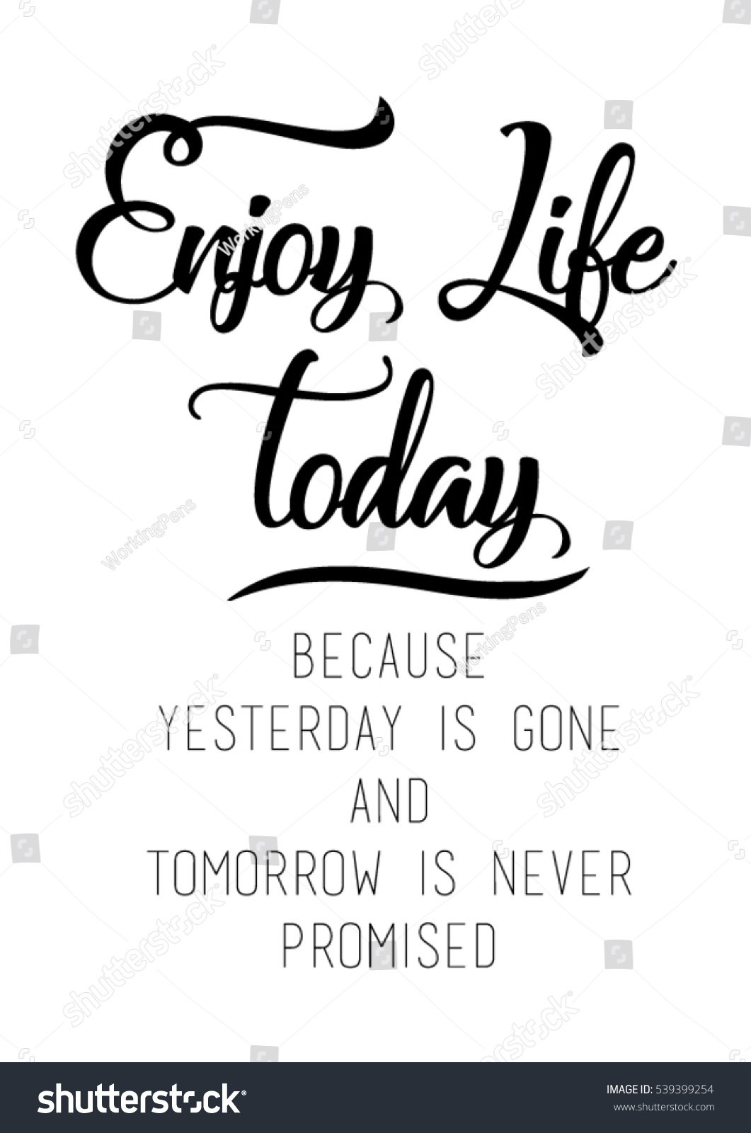 Quote For Today About Life Endearing Enjoy Life Today Because Yesterday Gone Stock Vector 539399254