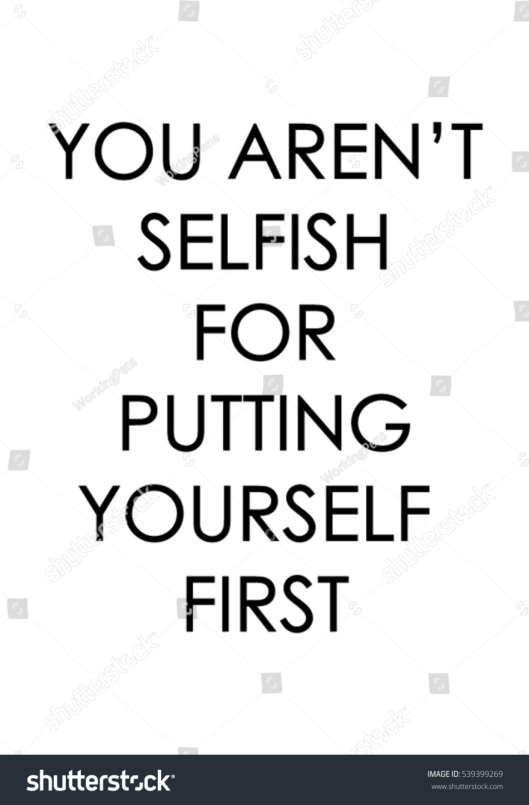 You Arent Selfish Putting Yourself First Stock Vector Royalty Free