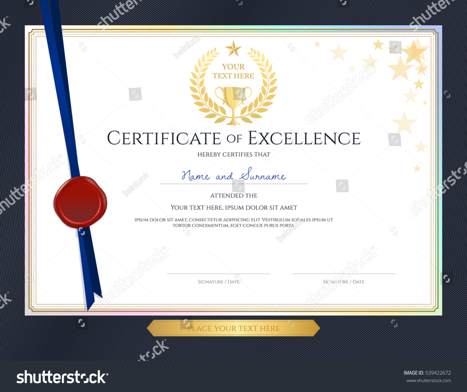 Elegant certificate template excellence achievement appreciation elegant certificate template for excellence achievement appreciation or completion on blue border background xflitez Image collections